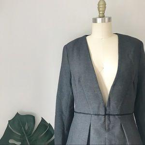 H&M • Grey Flounce Bottom Silhouette Blazer